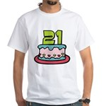 21 Year Old Birthday Cake White T-Shirt