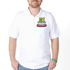 21 Year Old Birthday Cake Golf Shirt