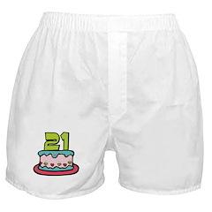 21 Year Old Birthday Cake Boxer Shorts
