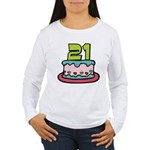 21 Year Old Birthday Cake Women's Long Sleeve Tee