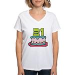 21 Year Old Birthday Cake Women's V-Neck T-Shirt