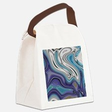 abstract blue marble swirls Canvas Lunch Bag