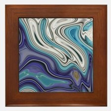abstract blue marble swirls Framed Tile
