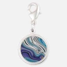 abstract blue marble swirls Silver Round Charm