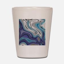 abstract blue marble swirls Shot Glass