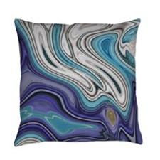 abstract blue marble swirls Everyday Pillow