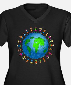 Cute Earth day Women's Plus Size V-Neck Dark T-Shirt