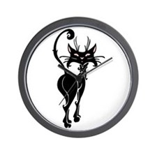 Pretty Black Cat Wall Clock