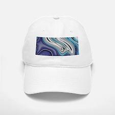abstract blue marble swirls Baseball Baseball Cap