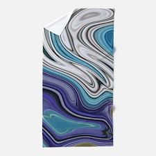 abstract blue marble swirls Beach Towel