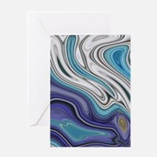 abstract blue marble swirls Greeting Cards