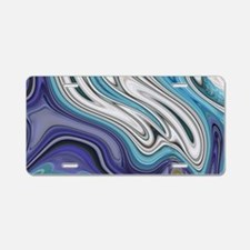 abstract blue marble swirls Aluminum License Plate