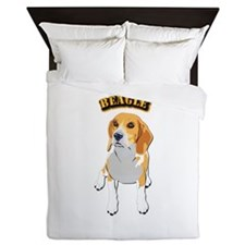 Beagle Dog with Text Queen Duvet