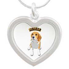 Beagle Dog with Text Silver Heart Necklace