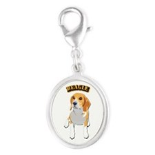 Beagle Dog with Text Silver Oval Charm