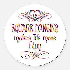 Square Dancing More Fun Round Car Magnet