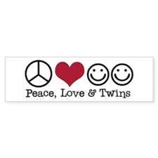 Peace, Love & Twins - Bumper Car Sticker