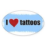 I LOVE TATTOOS Oval Sticker