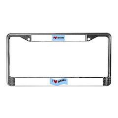 I LOVE TATTOOS License Plate Frame