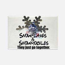 Snowflakes & Snowmobiles Rectangle Magnet