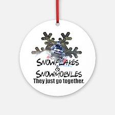 Snowflakes & Snowmobiles Ornament (Round)