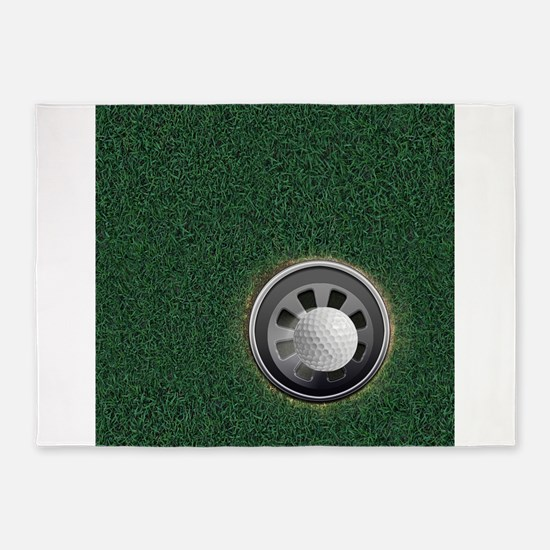 Golf Cup and Ball 5'x7'Area Rug