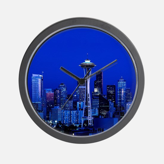 Seattle Space Needle at Night Wall Clock