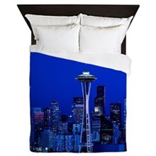 Seattle Space Needle at Night Queen Duvet