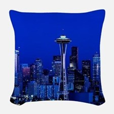 Seattle Space Needle at Night Woven Throw Pillow