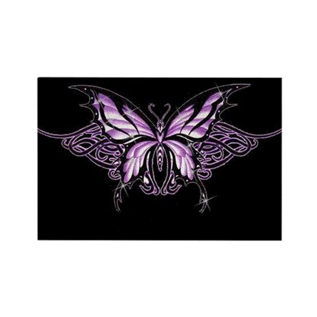 Purple Tribal Butterfly Rectangle Magnet