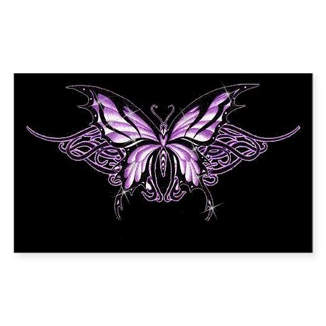 Purple Tribal Butterfly Rectangle Sticker
