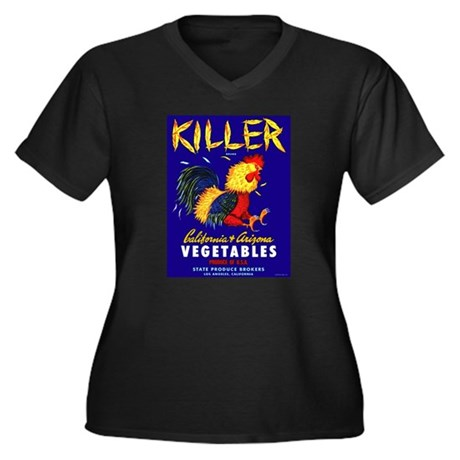Killer Women's Plus Size V-Neck Black T-Shirt