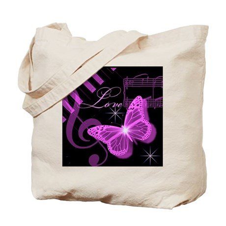 Musical Butterfly Tote Bag