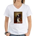 Lincoln's German Shepherd Women's V-Neck T-Shirt