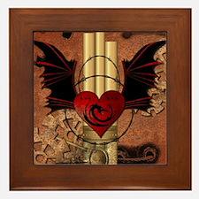 Heart with dragon Framed Tile