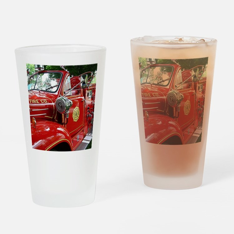 red fire engine 1 Drinking Glass