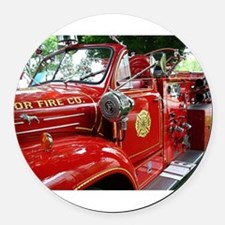 red fire engine 1 Round Car Magnet