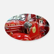 red fire engine 1 Oval Car Magnet