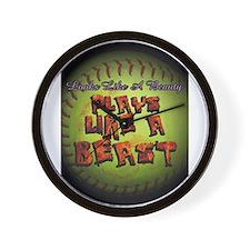 Cute Fastpitch softball game Wall Clock