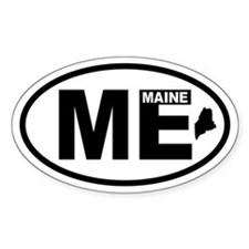 Maine Map Oval Decal