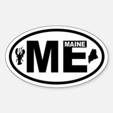 Maine Lobster and Map Oval Decal