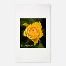 I Love You With Yellow Rose Area Rug