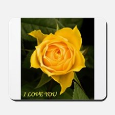 I Love You With Yellow Rose Mousepad