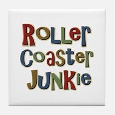 Roller Coaster Junkie Fanatic Tile Coaster