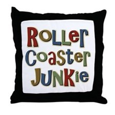 Roller Coaster Junkie Fanatic Throw Pillow
