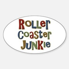 Roller Coaster Junkie Fanatic Oval Decal