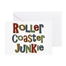 Roller Coaster Junkie Fanatic Greeting Card