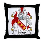 Bishop Family Crest Throw Pillow