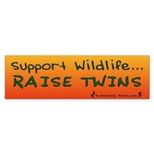 Support Wildlife - Raise Twin Bumper Car Sticker