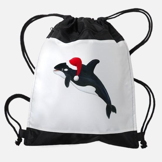 Christmas Whale Drawstring Bag